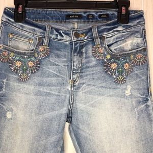 Miss Me Flower Embroidered Sequins Skinny Jeans